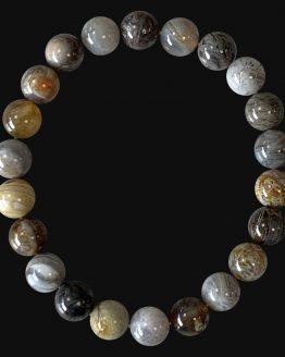 Bracelet Agate Plume AA perles 8mm