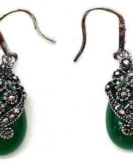 Boucles d'oreilles Argent Tibétain Opaline Verte 3cm