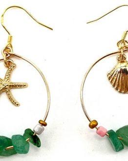 Boucles d'oreilles Baroque & Coquillages Aventurine Verte 5cm