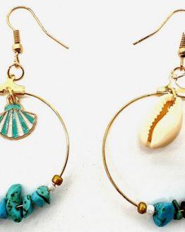 Boucles d'oreilles Baroque & Coquillages Turquoise 5cm