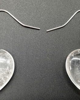 Boucles d'oreilles Cœur Cristal de Roche 4cm