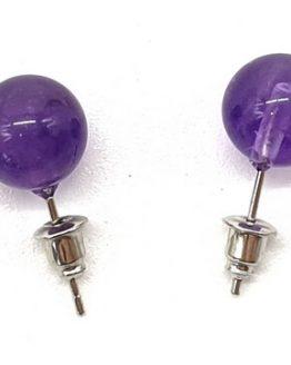 Boucles d'oreilles Perle Améthyste 10mm