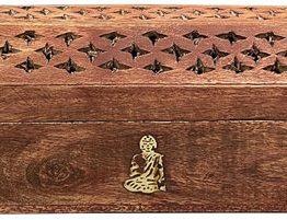 Porte encens coffret en bois Bouddha 30cm