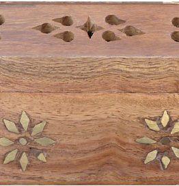 Porte encens en bois coffre fleur 13cm