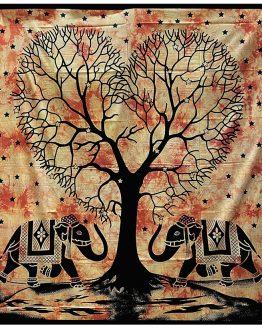 Tenture indienne Arbre de Vie & Éléphants Orange
