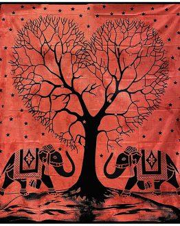 Tenture indienne Arbre de Vie & Éléphants Rouge