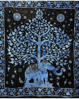Tenture indienne Arbre de Vie & Eléphant Bleu