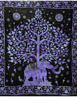 Tenture indienne Arbre de Vie & Eléphant Mauve