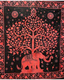 Tenture indienne Arbre de Vie & Eléphant Rouge