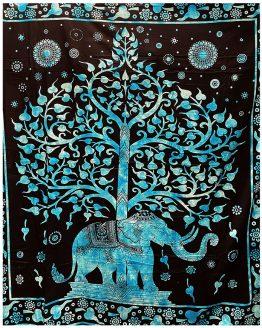 Tenture indienne Arbre de Vie & Eléphant Turquoise