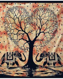 Tenture indienne Arbre de Vie Jaune & Orange