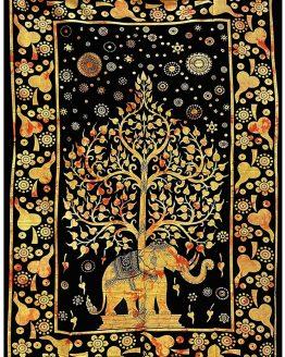 Tenture indienne Arbre de Vie & Eléphant Jaune & Orange