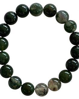 Bracelet Agate mousse A perles 10mm
